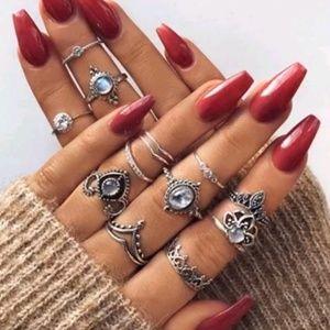 Silver White Moon Stone Midi Knuckle Ring Set